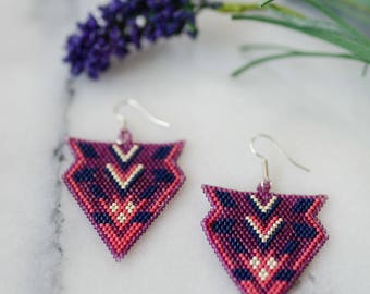 Naomi - Native American inspired cranberry beaded earrings