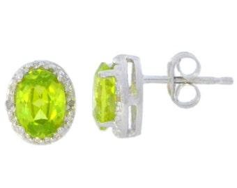 14Kt White Gold Peridot & Diamond Oval Stud Earrings