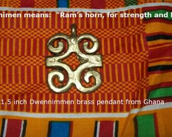 Dwennimen, Ram's horns Adinkra pendant supplies, Ghanian brass pendant, zipper pull
