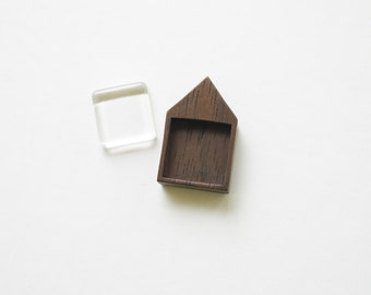 Artisan quality finished hardwood pendant setting - Walnut - Square - 19 mm - Glass Cab - (H419-W)