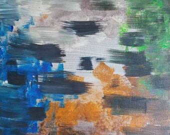 """Silver, Orange, Blue, Green and Black Original Acrylic Abstract Painting on Canvas """"Series 5 XCIV"""" Wall Art, Home Decor, Interior Design"""