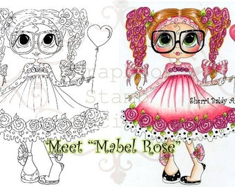INSTANT DOWNLOAD Digital Digi Stamps Big Eye Big Head Dolls Digi Mabel Rose By Sherri Baldy