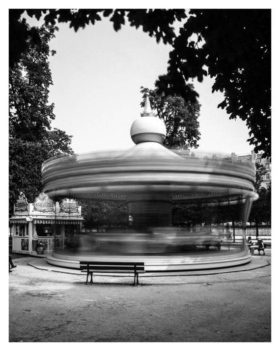 Paris Photography, Black and White, Fine Art Print, Carrousel Jardin des Tuileries, Paris photography, French Home Decor, 5x7, 8x10