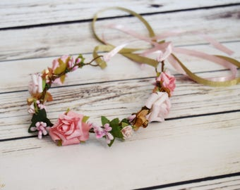 Handcrafted Pink and Gold Flower Crown - Pink Berry Flower Crown - Flower Girl Crown - Light Pink and Gold Wedding - Small Flower Crown
