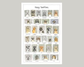 Dog Selfies of various breeds - giclée limited edition print - perfect gift for all dog lovers.