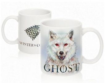 Ghost Direwolf and House Stark symbol from Game of Thrones mug by Takila ( Winter is coming )