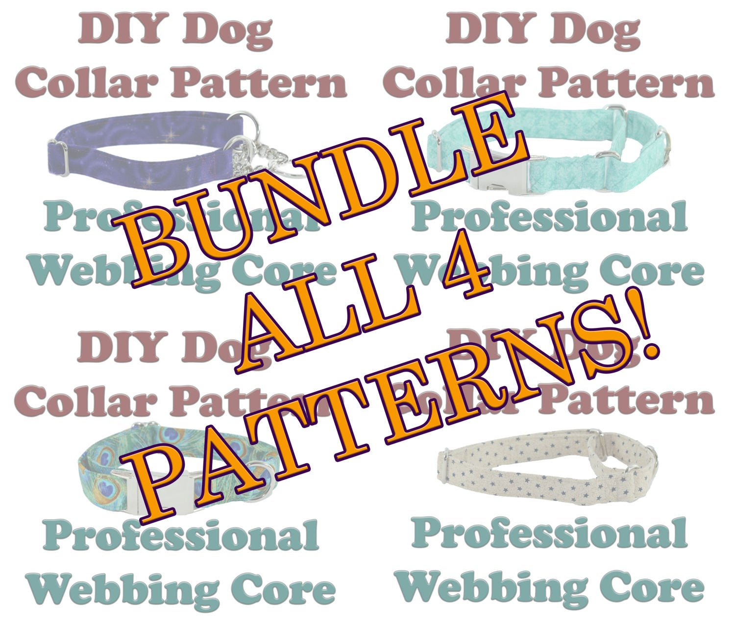 Bundle 4 patterns make your own dog collar martingale half this is a digital file jeuxipadfo Gallery