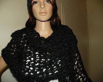 SpiderWeb  Black Shawl and Hat Set    Hand Crochet