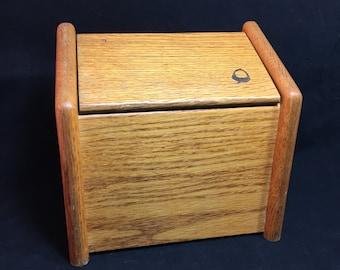 Vintage Wood Flip Top Recipe Box