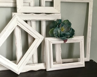 Distressed Shabby Open Frame Gallery collection of 6 White wall Frames