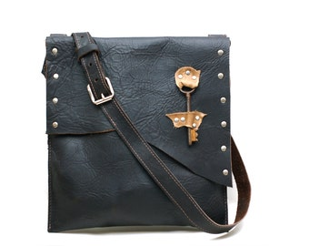 mens leather satchel - cross body leather messenger bag - laptop bag - tablet bag - every day leather carrier - raw edge steampunk