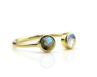 SUMMER SALE - Moonstone Ring,labradorite ring,gemstone ring,bezel rings,stacking ring,mixed stone ring,semiprecious ring