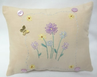 Floral Hand Embroidered Mini Pillow, Spring Summer Decor, Flowers, Butterfly