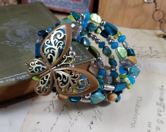 Butterflies Are Free to Fly Memory Wire Beaded Bangle Boho Bracelet