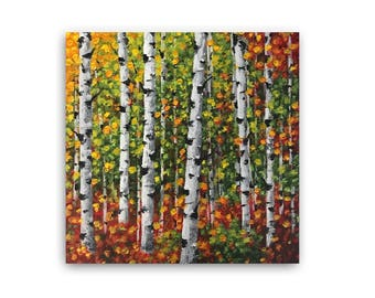 Birch Tree Painting,  Aspen Tree Art, Abstract Landscape painting, Original Art, small home office gifts