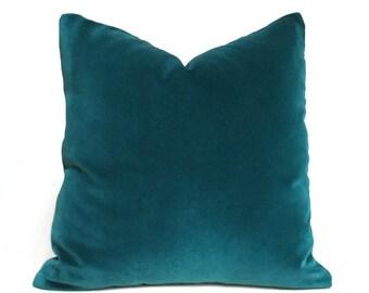 "Peacock Teal Blue Green Robert Allen Exquisite Cotton Velvet Pillow Cover, Fits 12x18 12x24 14x20 16x26 16"" 18"" 20"" 22"" 24"" Cushion Inserts"