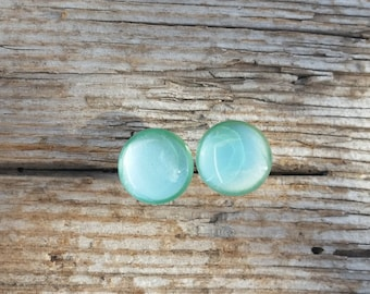 Mint Shimmer, Pearlsecent Shimmer Earrings, Pale Green Studs, Reflective Glass Dome Earrings, Non-allergenic Titanium Posts, Sensitive Ears