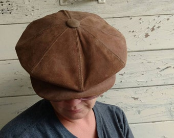 Retro Brown Suede Cap - Country Gentleman Driving Hat, Flat Billed, Fathers Day, Unisex Hipstet Head Wear, Brown Accessories, Gift For Him