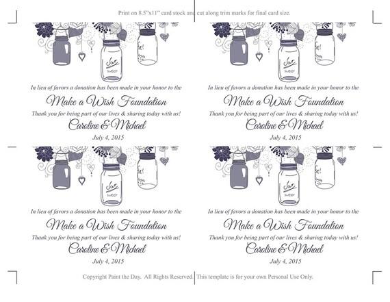 Wedding Favor Donation Card Template   Mason Jar Wedding Charity Favor Donation  Card   Pewter Wedding Favor   DIY Wedding Mason Jar Favor  Donation Card Template