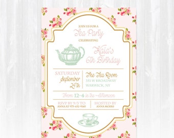 Tea baby shower invitation diy printable digital file or print tea birthday invitation diy printable digital file or print high tea birthday invitation high tea birthday invite tea party invitation stopboris Images