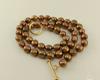 Princess necklace 18 1/2 inches - freshwater pearls (8-9 mm) oval Baroque bronze - gold hypoallergenic stainless steel clasp