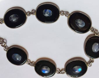 Moonstone & Onyx Sterling Silver Bracelet, Sterling Bracelet