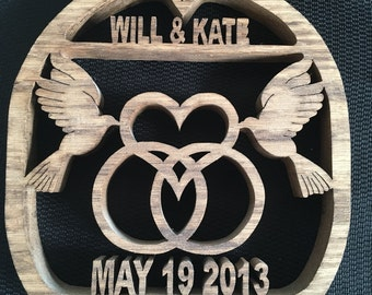 Personalized Wedding or Anniversary Plaque w/Rings, Doves, Hearts