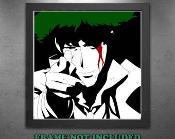 Anime Manga Cowboy Bebop Spike Inspired Silhouette Design design Wall Art Gift - High Quality Print on Poly-Matte Canvas - PRINT ONLY