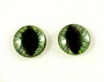 16mm Large Green Cat Glass Eye Cabochons - Evil Eyes for Doll or Jewelry Making - Set of 2