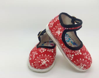 Handmade Floral Mary Janes (red)