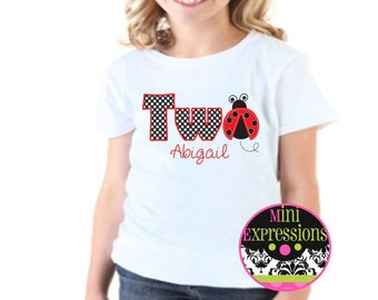 TWO Personalized Ladybug  Birthday shirt Red and Black
