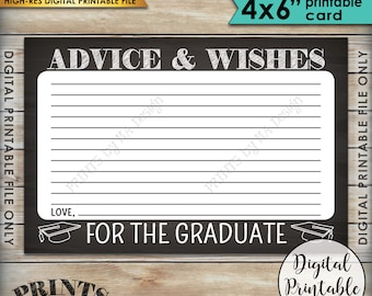 """Advice for Graduate, Please Share your Advice & Wishes with the Grad, Graduation Party, 4x6"""" Chalkboard Style Printable Instant Download"""