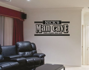 Man Cave Wall Decal - Personalized Man Cave Decal - Bar Wall Decal - Wall Quotes - Wall Decor - Vinyl Lettering - Love Wall Decal - Garage