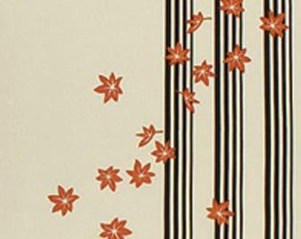 Japanese Tenugui Towel Cotton Fabric, Autumn, Maple Leaf, Stripe, Hand Dyed Fabric, Traditional Art Fabric, Home Decor, Table Cloth, a329