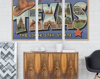 Greetings from Texas Cowboy Hat Triptych Metal Wall Art