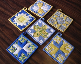 Blue and Yellow Pot Holder Collection