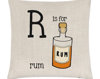 Letter R Is For Rum Linen Cushion Cover