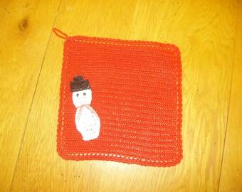 Red Christmas snowman snow decoration Potholder