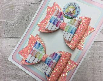 Coral Lolly Pop Bow