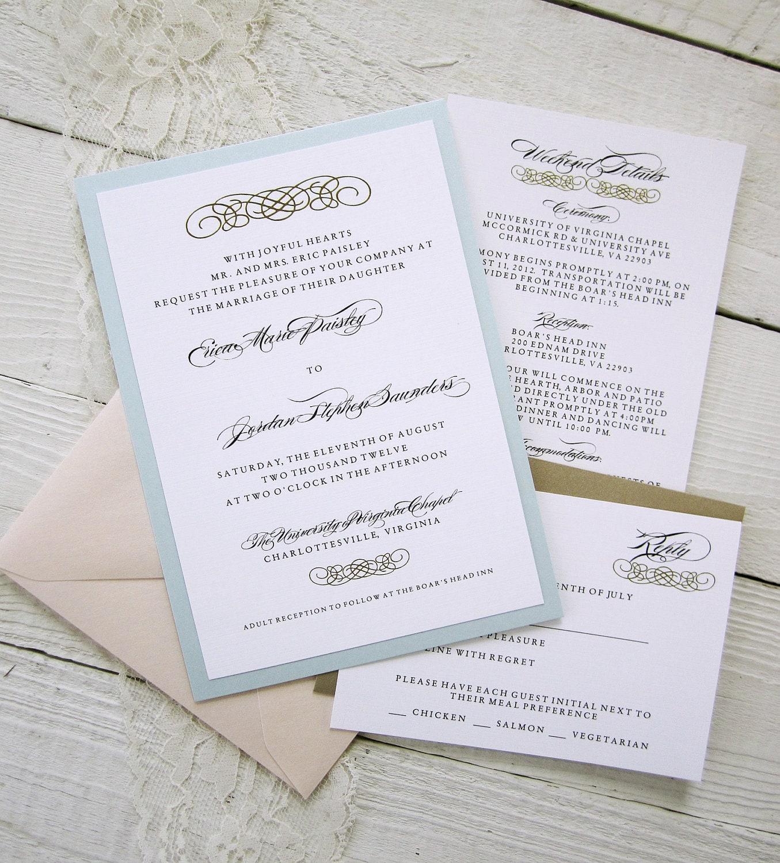 Baroque Wedding Invitations Vintage Glamour Gold Border