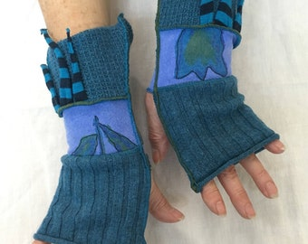 Teal Pulse Warmers with Thumbholes