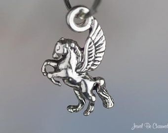 Miniature Sterling Silver Pegasus Charm Flying Horse Tiny Solid .925