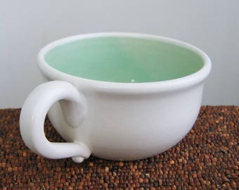 Soup Mug, Large Stoneware Pottery Coffee Mug or Cappuccino Cup in Mint Green 16 oz, Handmade Wheel Thrown Pottery, Coworker Gift, Breakfast