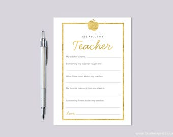 All About My Teacher Fill in the Blank Thank You Card, Quiz Questionnaire, Faux Gold Foil Printable Teacher Appreciation Gift, End of School