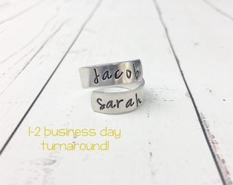 Mom Ring - Mothers Ring - Spiral Wrap Ring - Ring for Mom - Personalized Ring -Hand Stamped Ring -Ring with Names -Hand Stamped Personalized