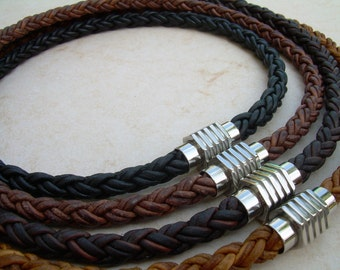 Men's Necklace, Leather Necklace for Men, Leather Necklace, Braided Necklace, Stainless Steel Magnetic Clasp, Men's Jewelry, Groomsmen,