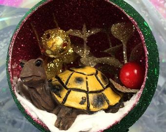 Turtle Winter Wonderland Diorama Green Glittery Christmas Ornament