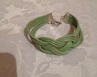 Sage Green Leather Bracelet, Sailor's Knot Bracelet, Leather Bracelet, Knotted Bracelet, Green Leather Bracelet, Compare to Chan Lu