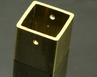 """2 pcs L320H Raw Brass Cubic pendant 20 mm (2,5 mm 0,1"""" 10 gauge hole) 1875"""