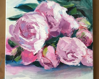 """Original Oil Painting Pink Peony Floral art Flower Painting Flower Art Bouquet Flowers Roses Peonies Abstract painting canvas 16""""x16"""""""